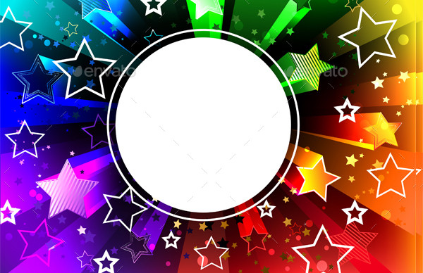 Banner on Rainbow Background