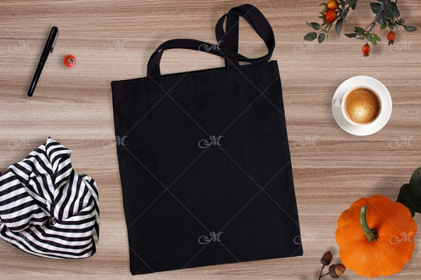 Black Garment Tote Bag Mockup
