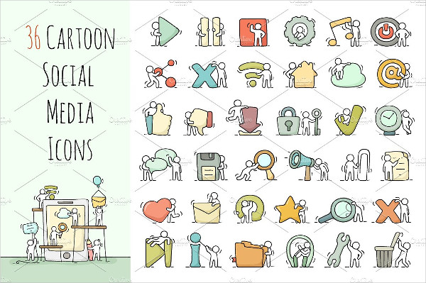 Multimedia Icons Set with Working Little People