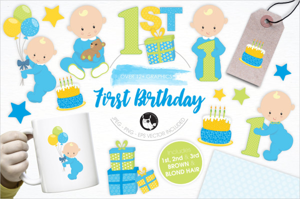 First Birthday Illustrations Pack