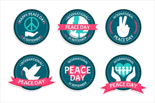 Flat Peace Day Badge Collection Free Download