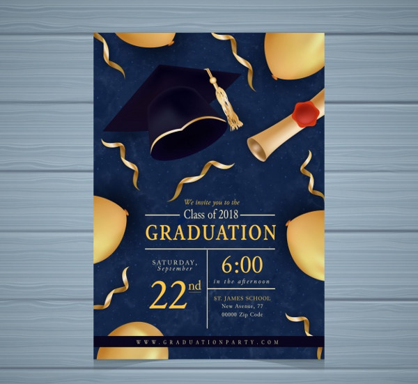 Graduation Party Invitation with Golden Elements Free