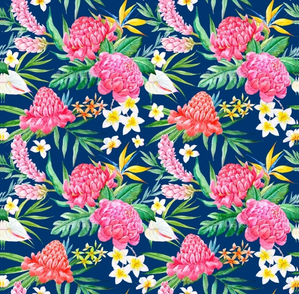 Hand Drawn Watercolor Tropical Pattern
