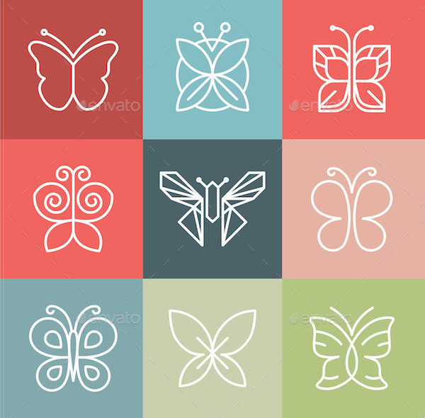 Vector Set of Line Butterfly Icons