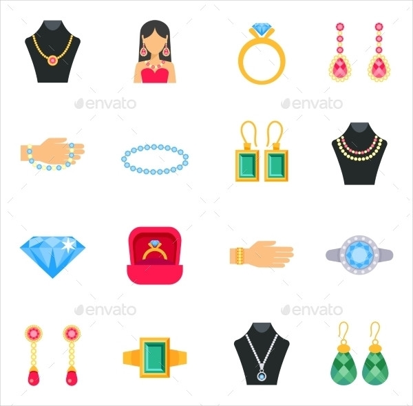 Jewelry Icon Pack with Earrings Rings & Bracelets