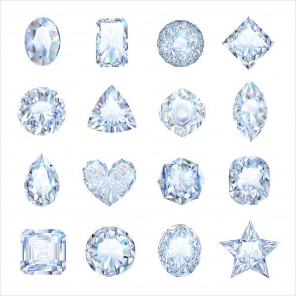 Realistic Gemstones Icons Set with Different Shape Isolated Free