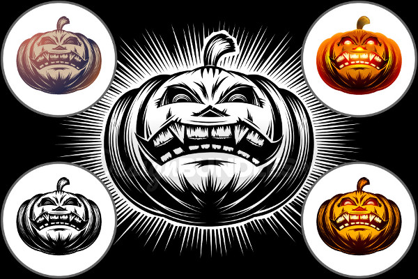Vector Halloween Pumpkin Cartoon Icon