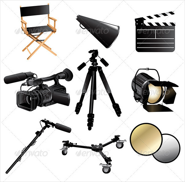 Vector Illustration Filming Movie Icons