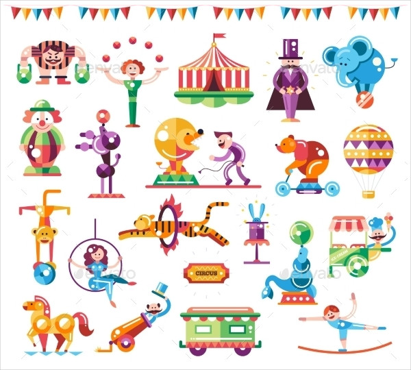 Flat Design Carnival And Circus Icons Set