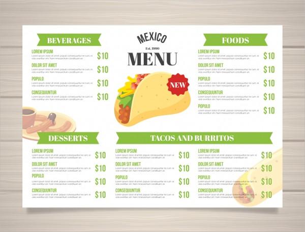 Flat Mexican Food Menu Template Free Download