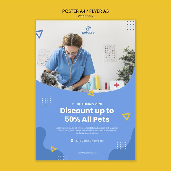 Free PSD Veterinary Discount Consults Poster Template