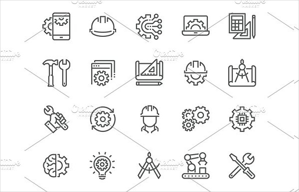 Simple Set of Engineering Related Vector Line