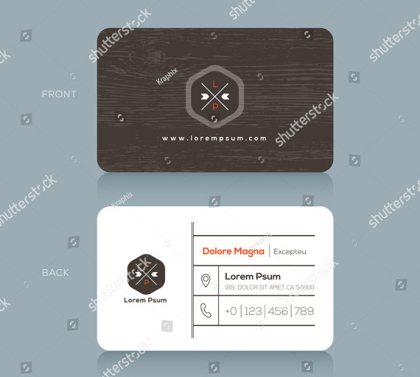 Modern Business Card Design Template with Dark Wood