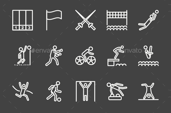 Olympics Line Inverted Icons