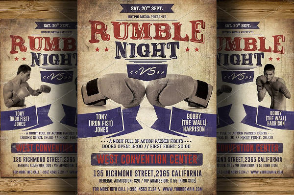 Vintage Rumble Night Boxing Flyer Template