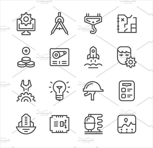 Set Line Icon Collection Of Engineering