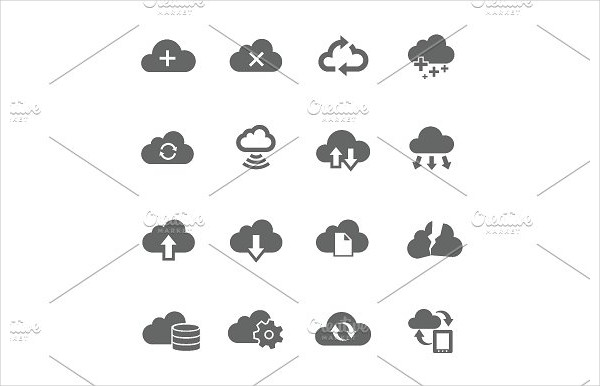 Simple Icon Set Related to Computing Cloud