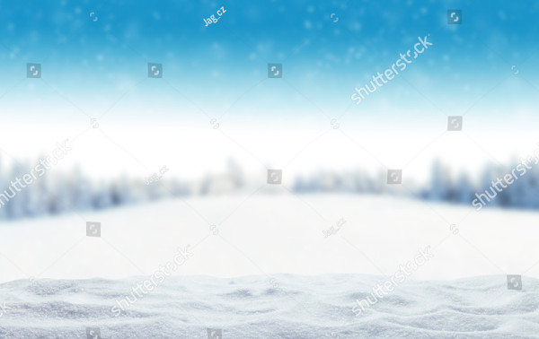 Winter Background with Pile of Snow and Blur Landscape