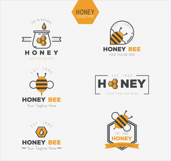 Collection of Traditional Honey Logo in Flat Design Free