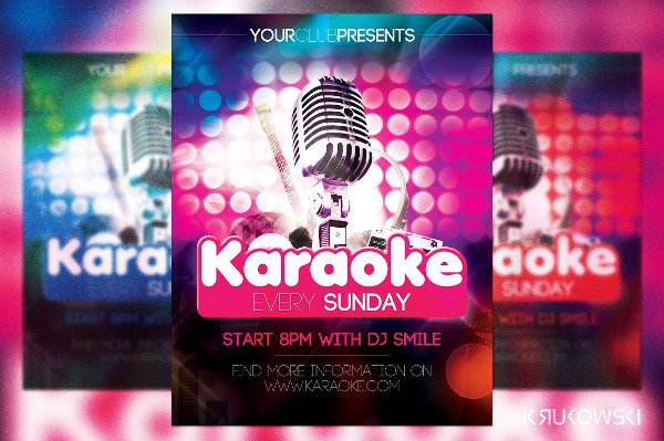 Easy To Edit Karaoke Party Flyer Template