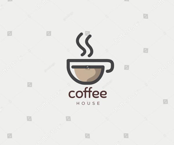 Hot Coffee Cafe House Logo Design