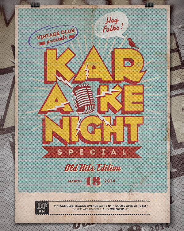 Vintage Karaoke Night Poster Design
