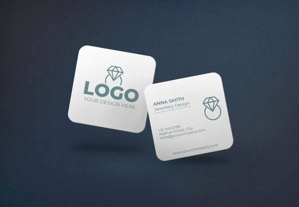 Square Business Card Mockup Free PSD