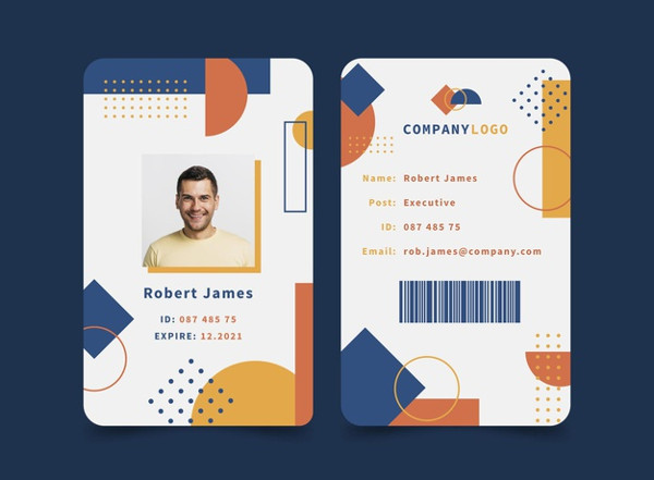 Abstract ID Cards Collection with Picture Free Download
