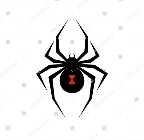 Black Widow Spider Logo Vector Illustration