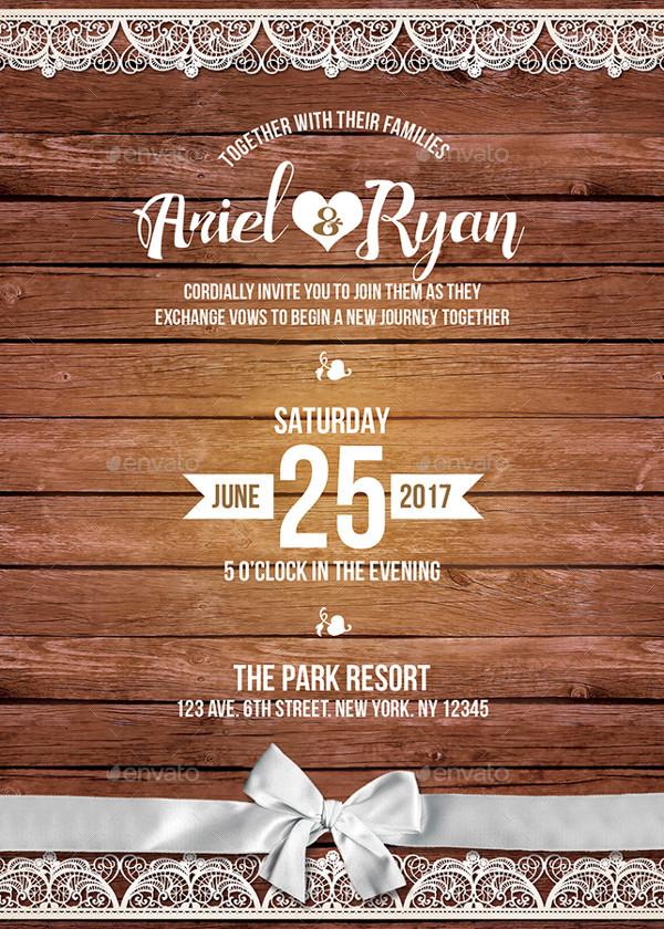 Rustic Wedding Reception Invitation Template