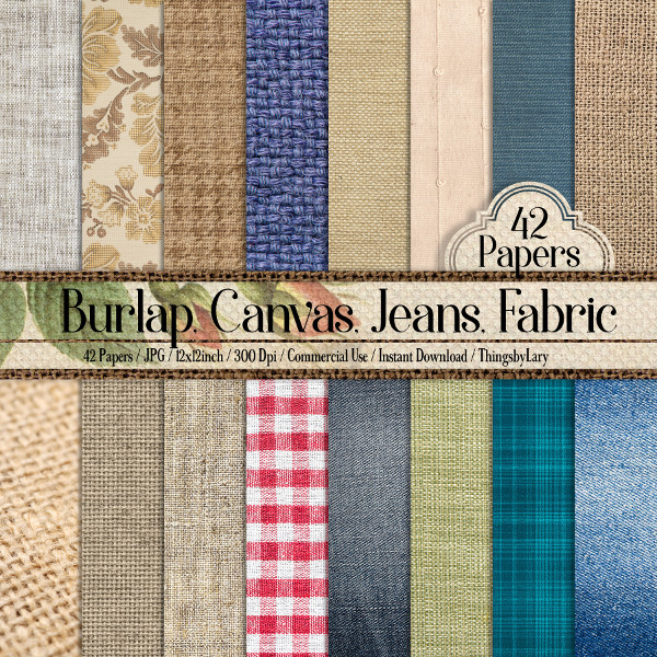 42 Different Fabric Texture Papers Burlap