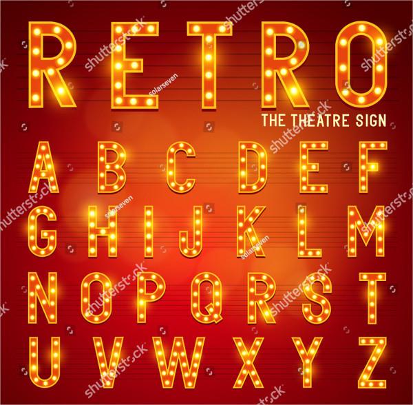 Retro Light Bulb Alphabet Letters