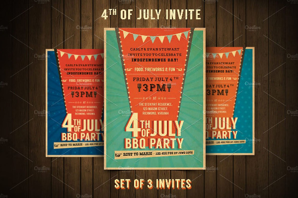 Retro BBQ Invitation Flyers