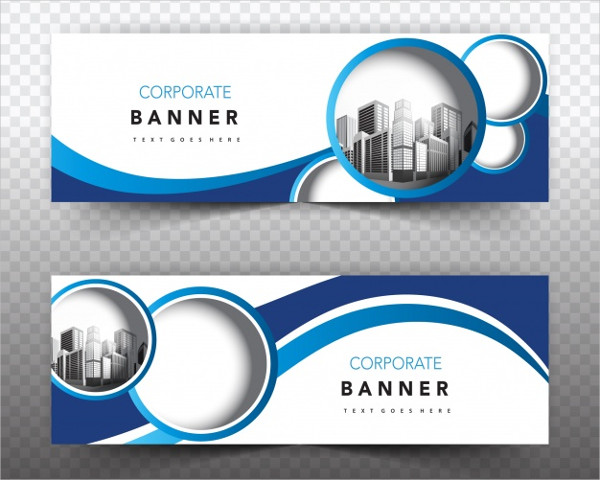Blue and White Corporate Business Banner Free Vector