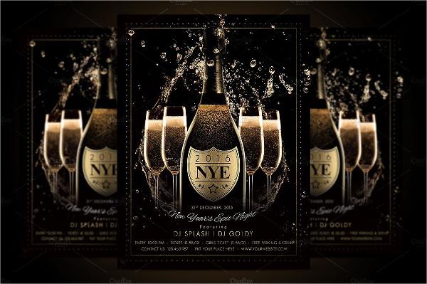 Champagne Night Flyer Design