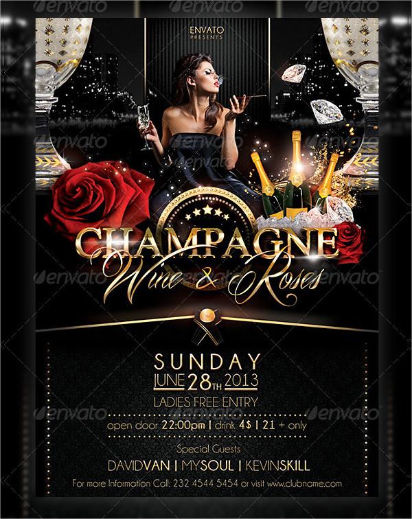 Champagne Wine & Roses Flyer Design