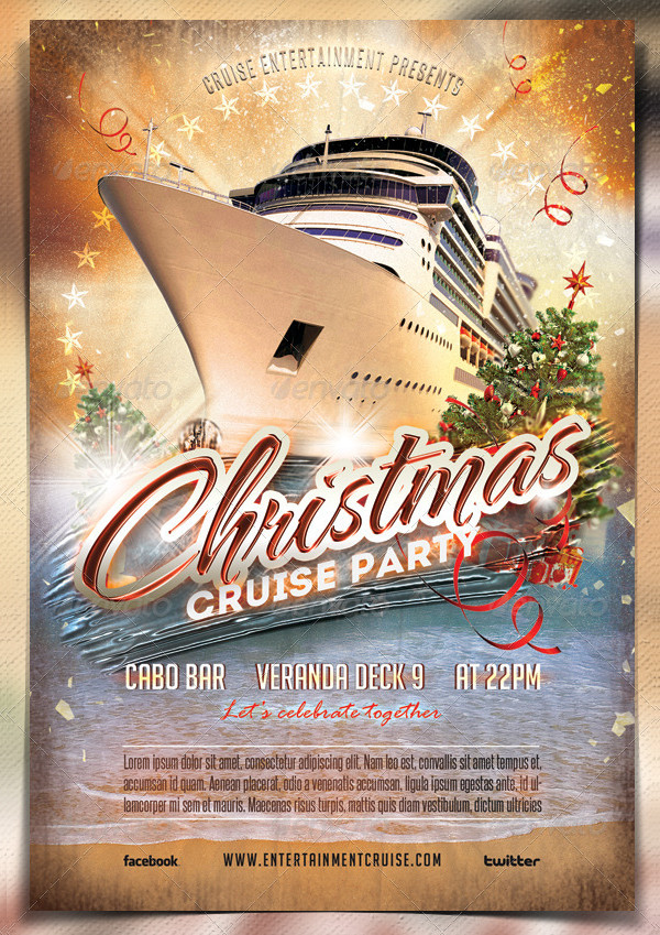 Christmas Cruise Party Flyer Templates