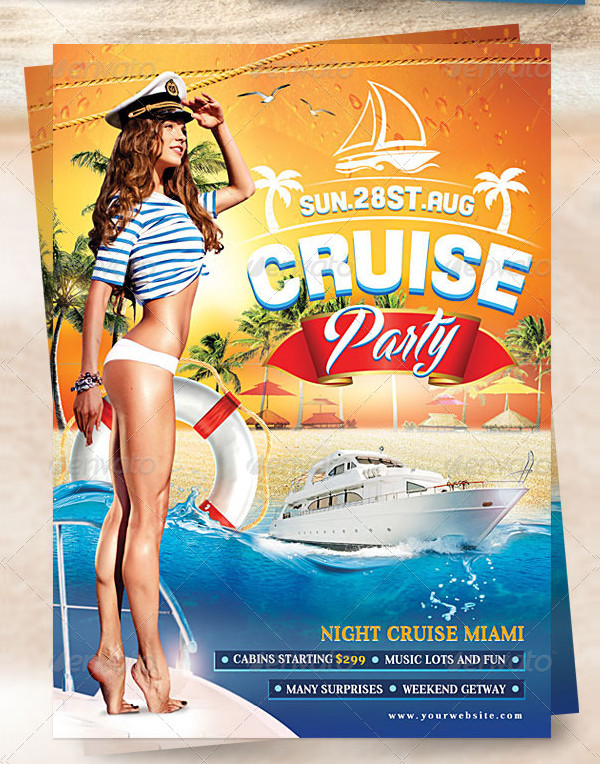 Cruise Ship Party Flyer Design Template