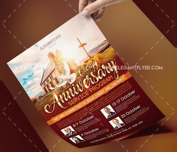Free Clergy Anniversary Service Program Flyer