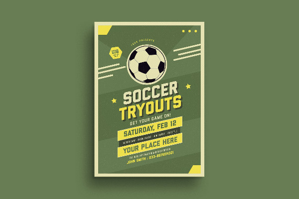 Old Soccer Tryout Poster Design
