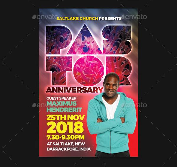 Fully Editable Pastor Anniversary Flyer