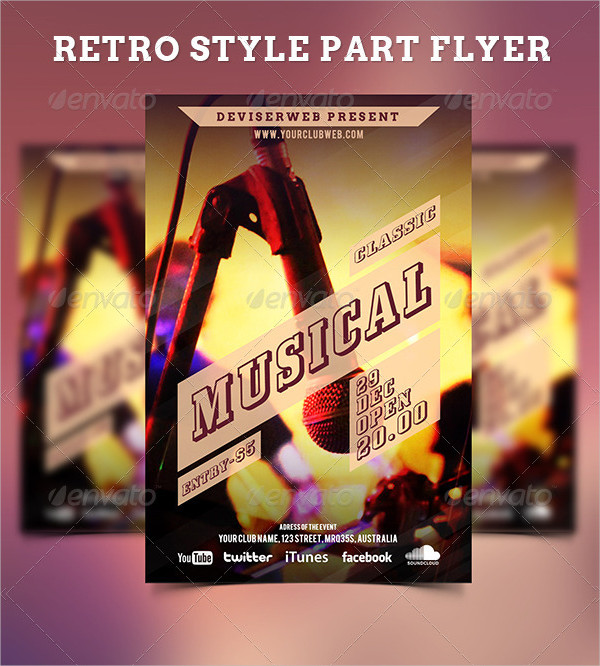 Retro Style Classic Musical Party Flyer