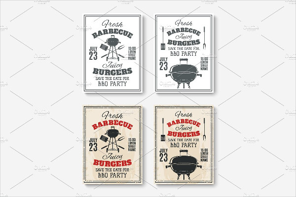 Set of Barbecue Party posters