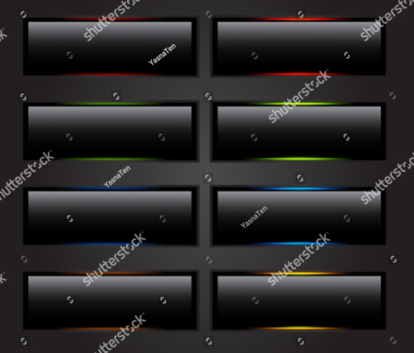 Vector Black Buttons in Clicked Position