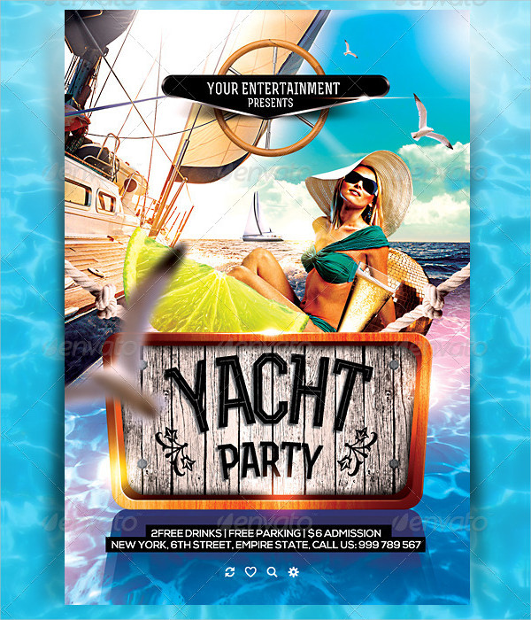 Yacht Cruise Party Flyer Template PSD