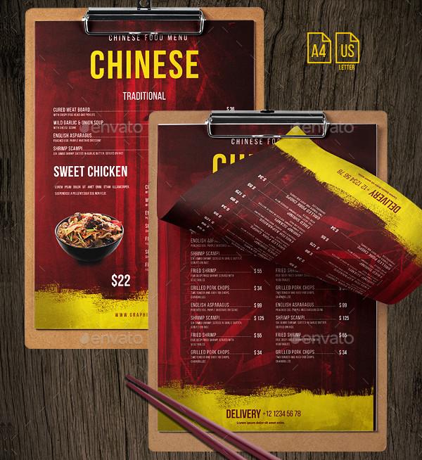 Printable Chinese Menu PSD Templates Bundle