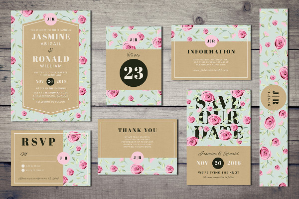 Clean Wedding Greeting Cards Suite
