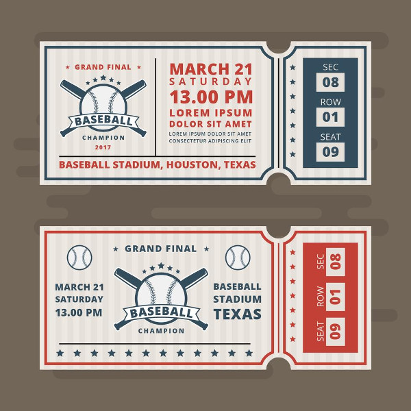 Invitation Tickets for Baseball Vector Free Download