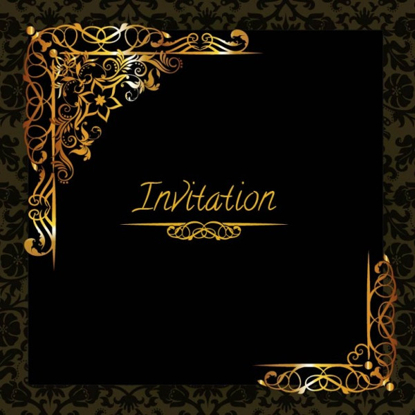 Elegant Golden Design Invitation Free