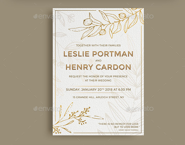 Floral Gold Wedding Invitation